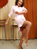 Curly chick in exclusive pantyhose revealing her lust in steamy foot play