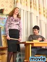 Female teacher in lace top stocking is about to give guy a fucking lesson