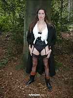Mistress jane takes a stroll in the woods wearing very sexy nylon stockings