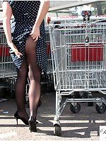 MILF At The Shopping Mall In Blue Pantyhose