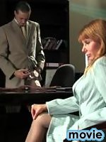 Seductive babe in grey pantyhose getting stinging fucking sensation at work