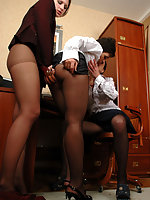 Three secretaries in black hose going down on each other with awesome toys