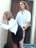 Lewd secretary in lacy hose having hot lunch fucking and sucking like hell