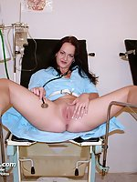 Rhoda nurse pussy fingering, dildoing and speculum opening