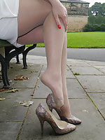 Gorgeous toddler Faye Taylor invites you to join her in the park, to admire her silky nylon pantyhose and her lovely high stiletto shoes