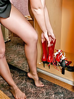 Sleepy chick in control top pantyhose fitting on her seductive red shoes