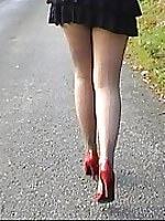 Brunette in shiny pantyhose and hot stilettos (shelley)