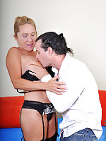 Busty blonde mature Luna returns a favor for his stud cock by riding it with her needy pussy until it erupts