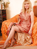 Angel with evening dress and sheer reinforced stockings