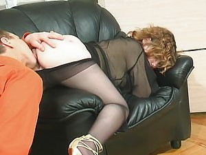 Salacious chick in smooth pantyhose treating blindfold guy like her sex toy